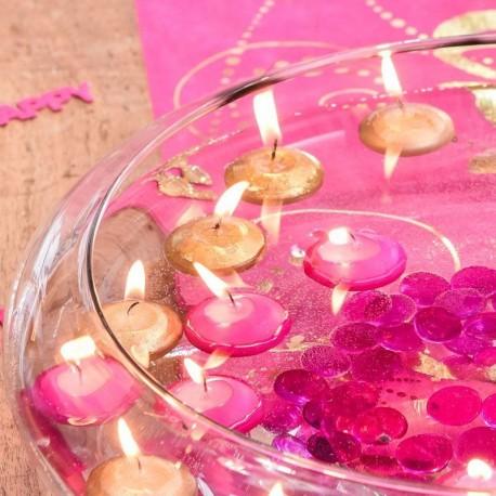 4 Bougies flottantes pailletées or
