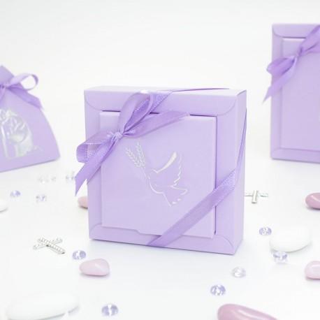 Boîte à dragées colombe lilas et argent