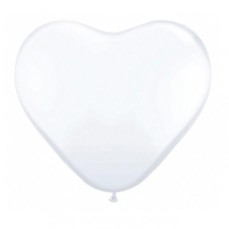 10 ballons coeurs blancs métalisés