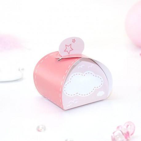 Mini boîte à dragées rose naissance