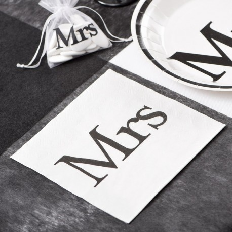 20 serviettes de table Mrs thème Mr & Mrs