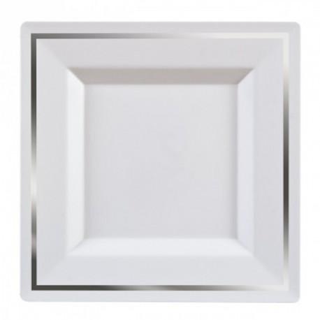 5 Assiettes carrée bordée argent 24 cm