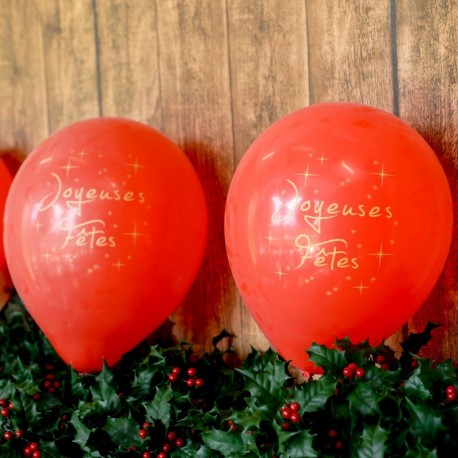 6 Ballons gonflables rouge joyeuses fêtes