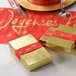 Chemin de table rouge joyeuses fêtes