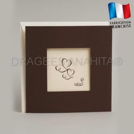 Faire part mariage thème ivoire chocolat