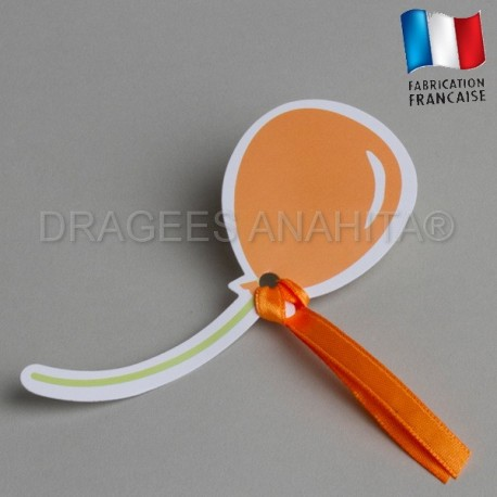 Etiquette à dragées ballon orange