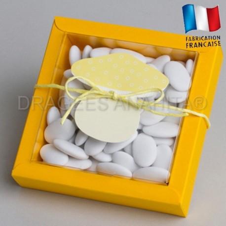 grande boite à dragées champignons jaune