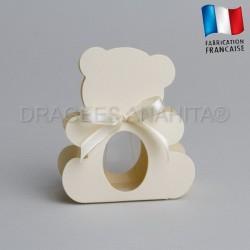 dragées bapteme ourson ivoire
