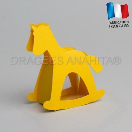 dragées baptême cheval jaune