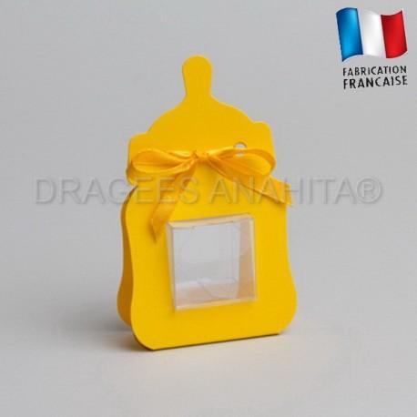 Contenant dragées biberon jaune