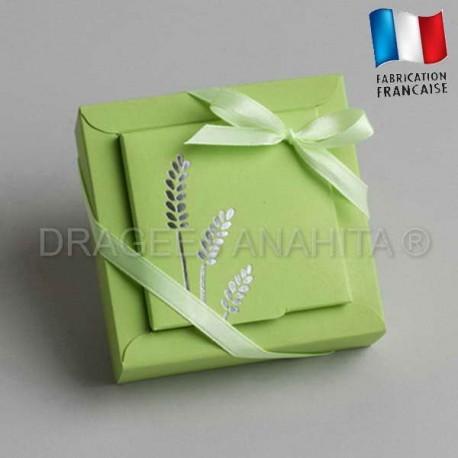 emballage dragées communion vert