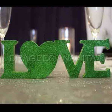 Centre de table LOVE vert