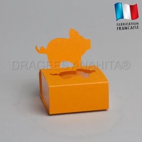 Dragées bapteme porcinet orange