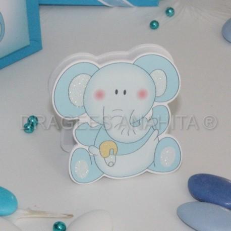 Porte nom éléphant bleu
