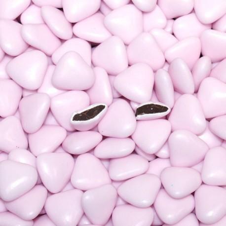 Dragées coeur chocolat rose