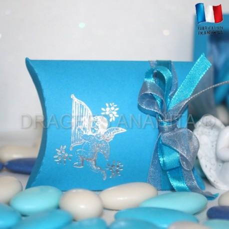 Pochette dragées ange turquoise