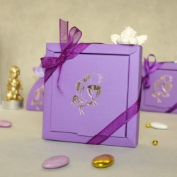 Grand contenant dragées Calice lilas