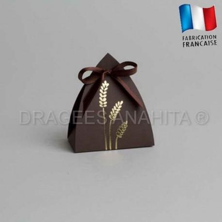 Contenant dragées communion vitrail chocolat