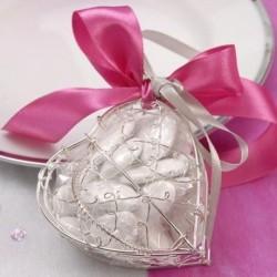 Coeur à dragées en métal