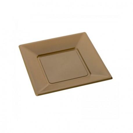 Assiette jetable Or carrée petite X 12