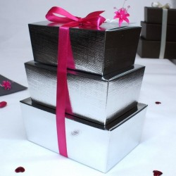 Boite à gâteau Argenté pour mariage