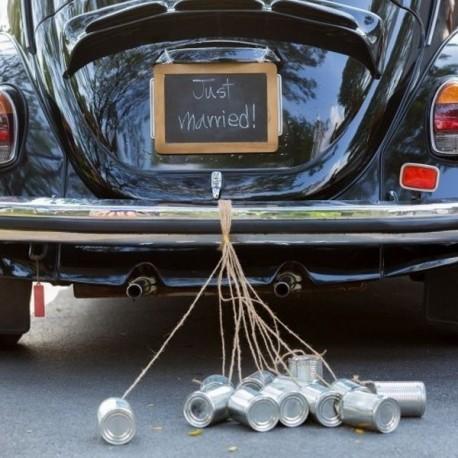 Boite de conserve voiture mariage métal argent