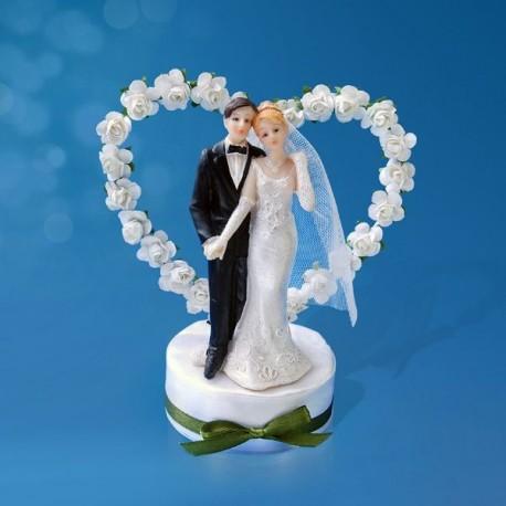 Figurine gâteau de mariage coeur de rose blanche
