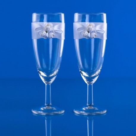 Flûtes à Champagne rose blanche