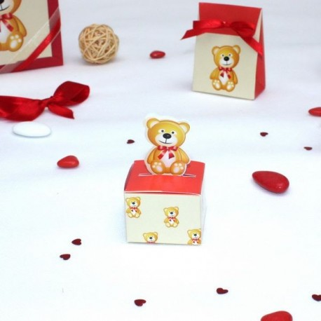 Cube à dragées Ourson noeud rouge