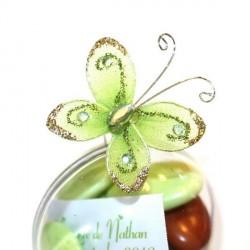 4 papillons autocollants vert
