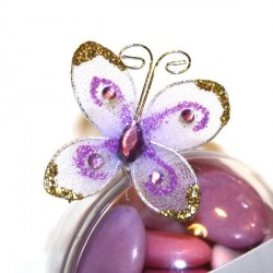 4 papillons autocollants lilas