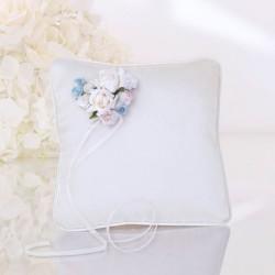 Petit coussin fleur bleue