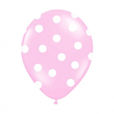 6 Ballons rose pois blanc 36 cm