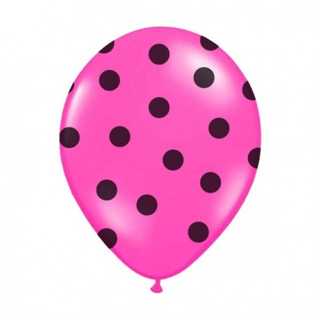 6 Ballons fuchsia pois noir 36 cm