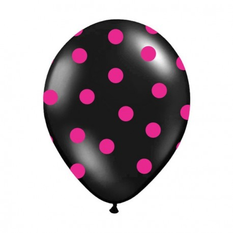 6 Ballons noir pois fuchsia 36 cm