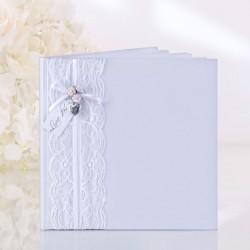 Livre d'or mariage dentelle et coeur métal