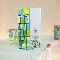 Menu Communion vitrail vert