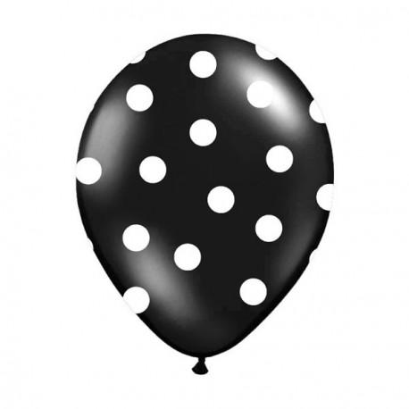 6 Ballons noir pois blanc 36 cm
