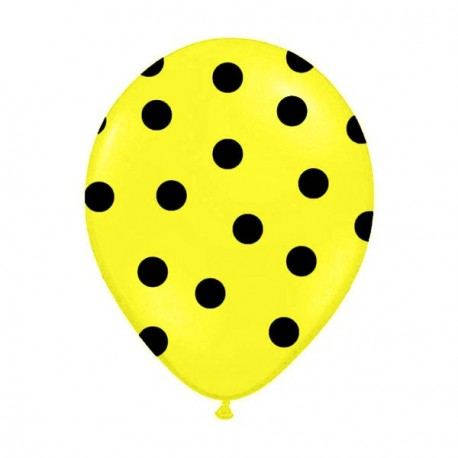 6 Ballons jaune pois noir 36 cm