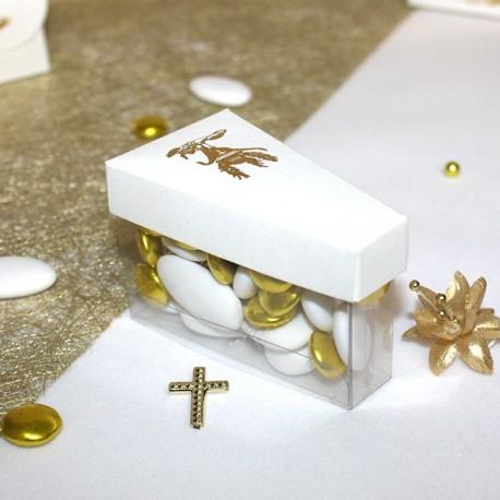 Boite à dragées part de gateau calice or
