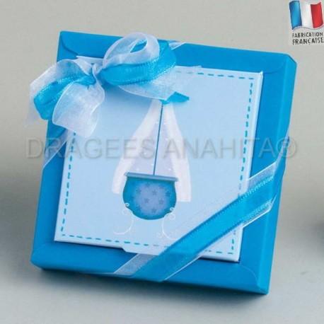 Grande boite à dragées bapteme berceau bleu