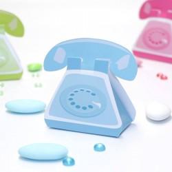 Ballotin à dragées téléphone bleu