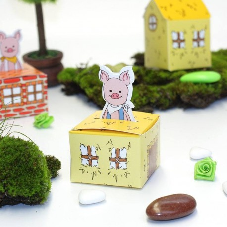 Boîte à dragées petit cochon en paille