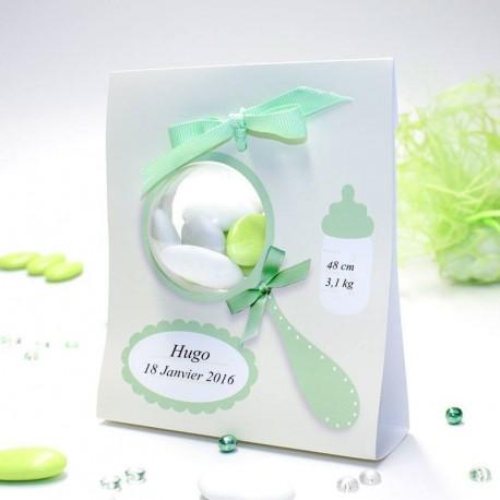 Porte boule hochet vert naissance garçon