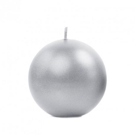Bougie boule argent 6 cm
