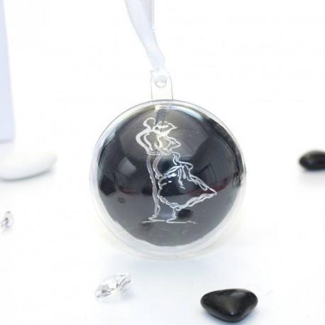 Boule dragées thème couple enlacé noir
