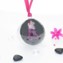 Boule dragées noir et fuchsia couple enlacé