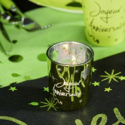 2 Bougies photophores vert anniversaire