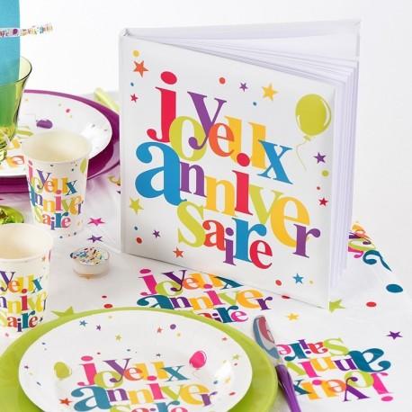 Livre d'or joyeux anniversaire multicolore