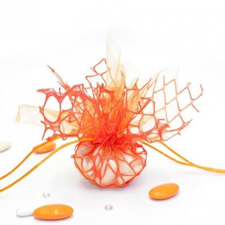 Tulle à dragées effet dentelle orange avec attache